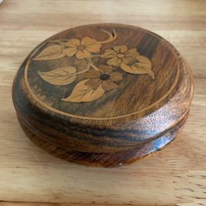 """Rosewood Jewelry Box Floral Design 3.5""""x3.5"""""""